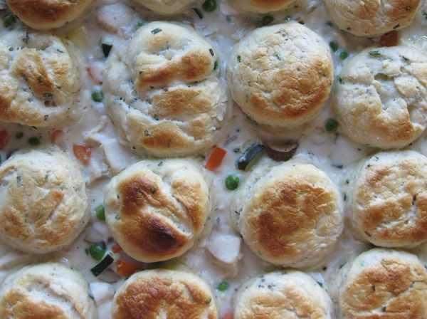 Tasty Eats // Chicken Pot Pie with Cream Cheese & Chive Biscuits - K ...