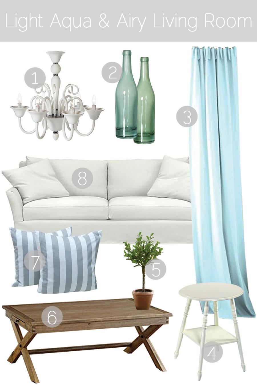 Design Breakdown // Light Aqua & Airy Living Room - K Sarah Designs