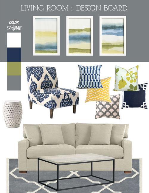 Incroyable Artwork / Blue Print Pillow / Yellow Pillow / Gray Scales Pillow / Green  Floral Pillow / Navy Pillow / Sofa / Coffee Table / Rug / Garden Stool / Ikat  Chair