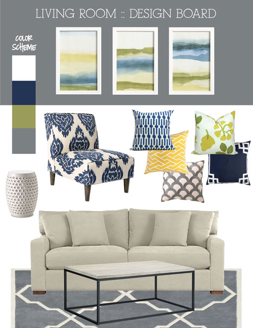 Mood Board Fresh Blue Green And Grey Living Room