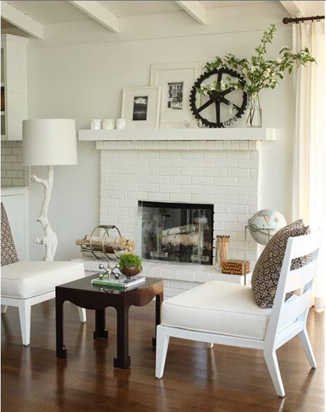 Lake house living room fireplace sitting area
