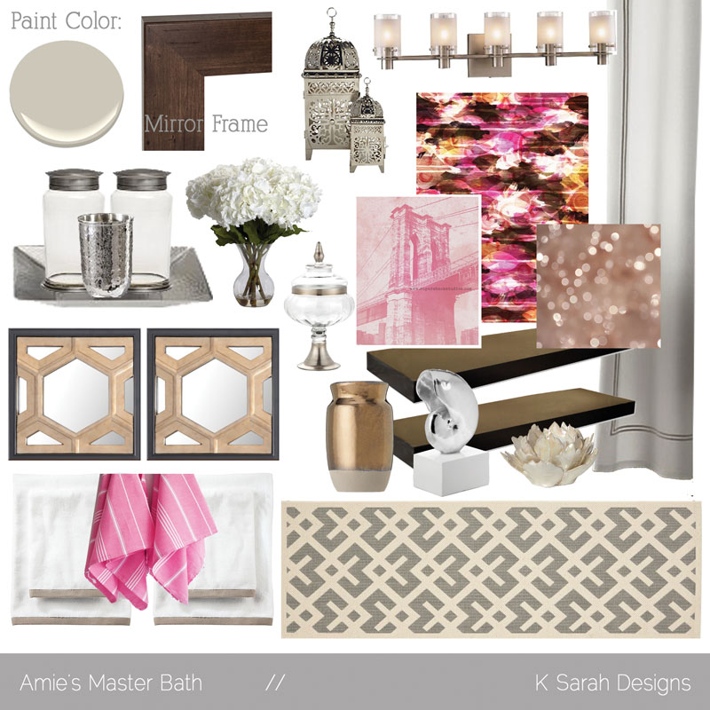 Bathroom Design Board mood board // amie's master bath - k sarah designs
