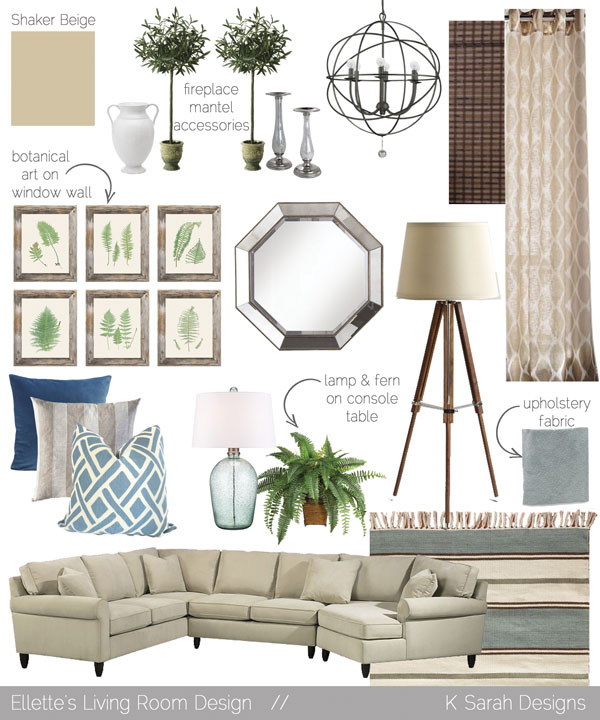 Mood Boards // A Welcoming & Relaxing Living Room, Kitchen