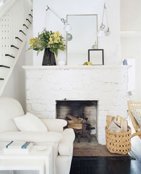 painted white brick fireplaceInteriors i love  Painted Brick Fireplaces  K Sarah Designs