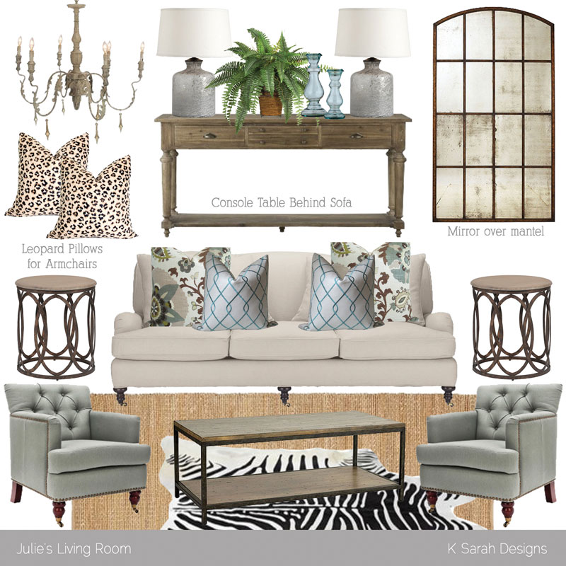 Rustic Glam Living Room mood board // neutral rustic glam living room - k sarah designs