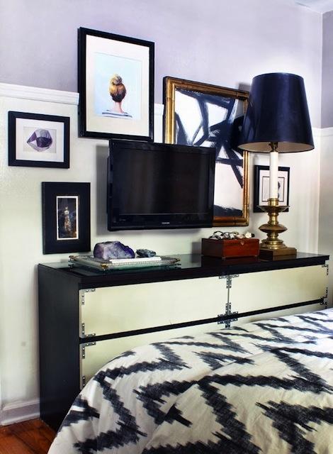 Interiors I Love Art Surrounding The TV K Sarah Designs - Black wall behind tv