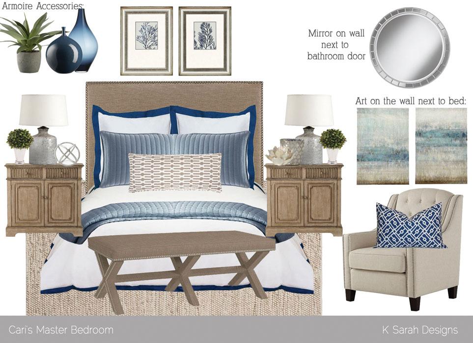 Mood Board Relaxing Neutral Blue Bedroom K Sarah Designs