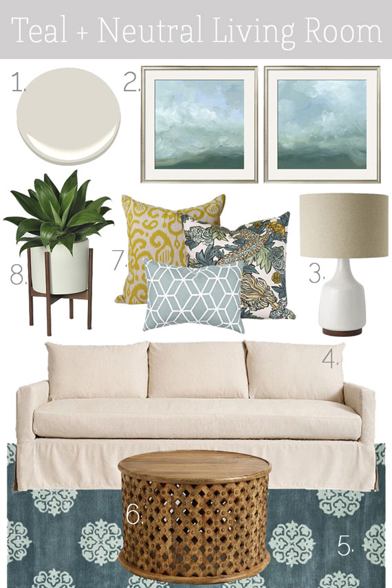 Mood Board Teal Neutral Living Room K Sarah Designs