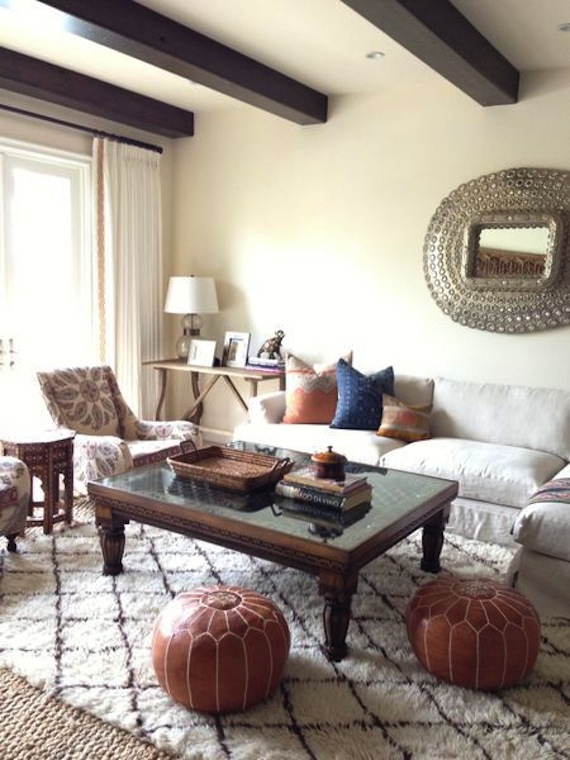 Poufs - Amber Interiors - Fab Finds // Affordable Kilim Pillows + Leather Poufs - K Sarah