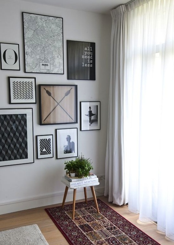 black and white modern furniture. We Thought This Was A Great Gallery Wall, With An Interesting Mix Of Graphic Art And Black Frames. *Image Source White Modern Furniture F
