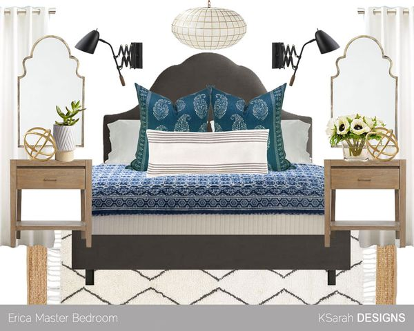 Mood Board Blue Neutral Modern Boho Bedroom K Sarah